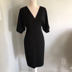 Black Halo black midi dress with flutter sleeves